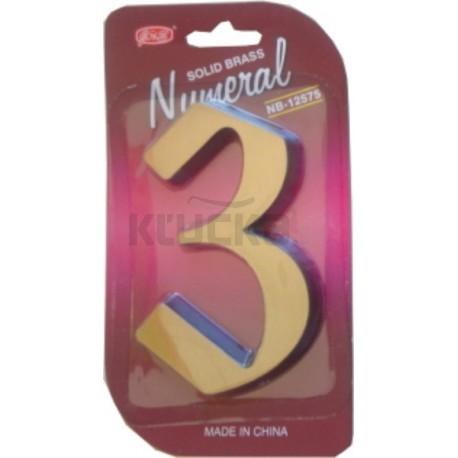 """Číslo fasádne """" 3 """" bronz 125mm"""