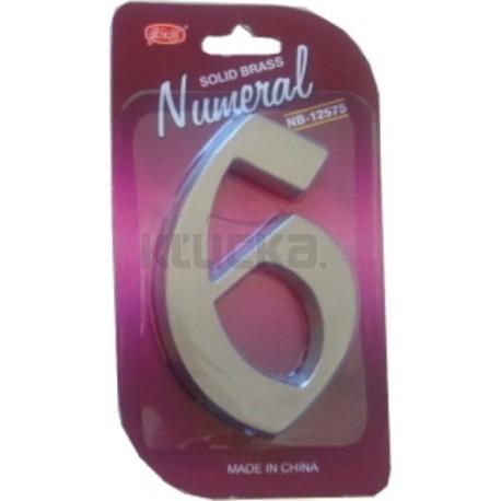 """Číslo fasádne """" 6 """" Ni-sat 125mm"""