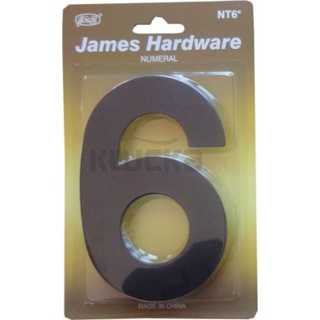 """Číslica """"6"""" fasádna 152mm čierna matná"""