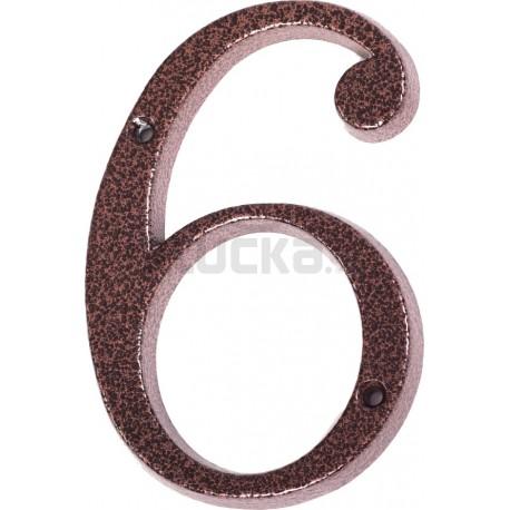 "Číslo "" 6 "" medený antik 120mm"