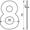 """Číslica """"9"""" 75mm nerez"""